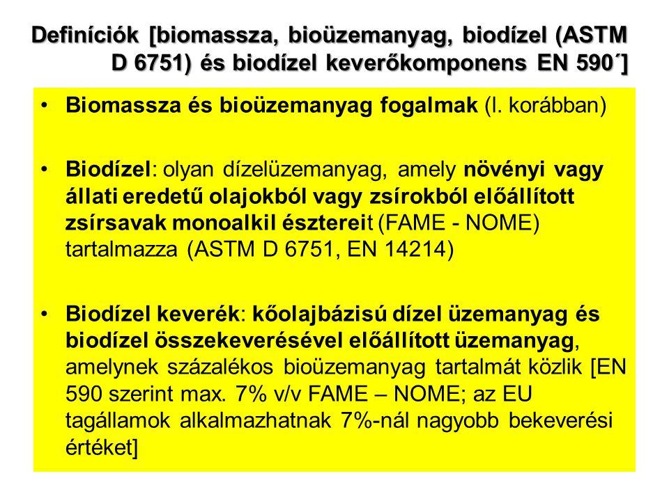 Definíciók [biomassza, bioüzemanyag, biodízel (ASTM D 6751) és biodízel keverőkomponens EN 590´]